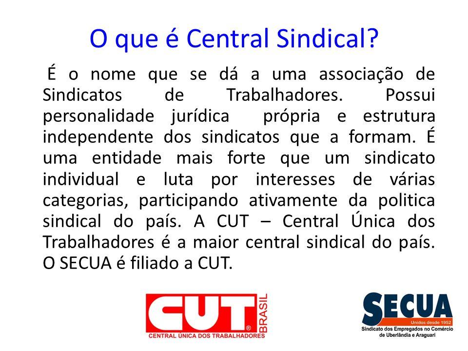 O que é Central Sindical? É o nome que se dá a uma associação de Sindicatos de Trabalhadores. Possui personalidade jurídica própria e estrutura indepe