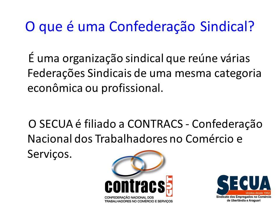 O que é uma Confederação Sindical? É uma organização sindical que reúne várias Federações Sindicais de uma mesma categoria econômica ou profissional.