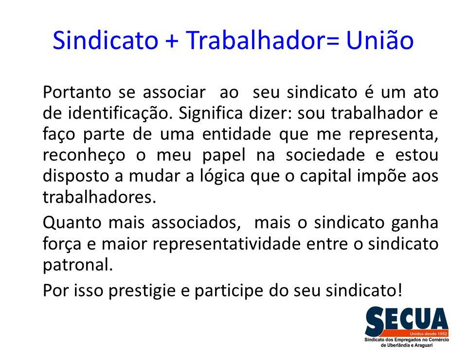 Sindicato + Trabalhador= União Portanto se associar ao seu sindicato é um ato de identificação. Significa dizer: sou trabalhador e faço parte de uma e