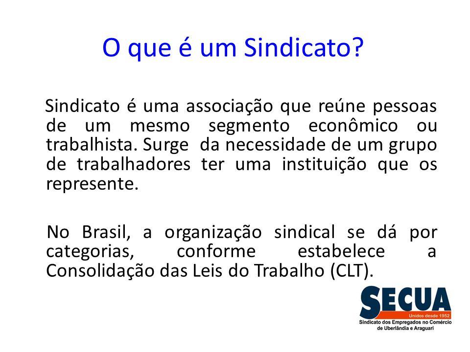 O que é um Sindicato? Sindicato é uma associação que reúne pessoas de um mesmo segmento econômico ou trabalhista. Surge da necessidade de um grupo de