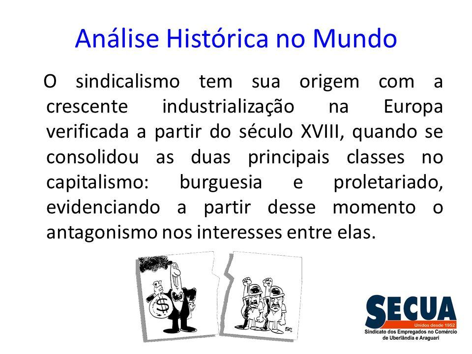 Análise Histórica no Mundo O sindicalismo tem sua origem com a crescente industrialização na Europa verificada a partir do século XVIII, quando se con