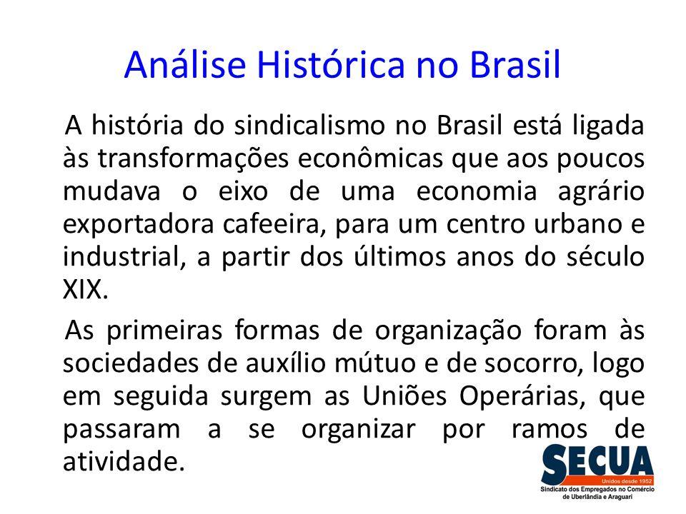 Análise Histórica no Brasil A história do sindicalismo no Brasil está ligada às transformações econômicas que aos poucos mudava o eixo de uma economia