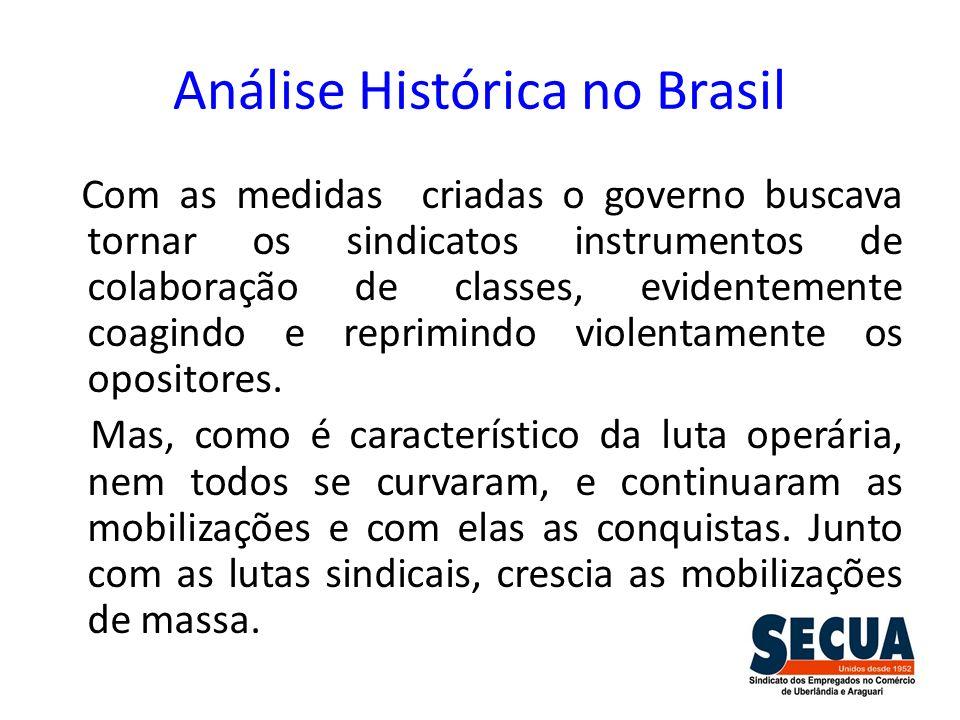 Análise Histórica no Brasil Com as medidas criadas o governo buscava tornar os sindicatos instrumentos de colaboração de classes, evidentemente coagin