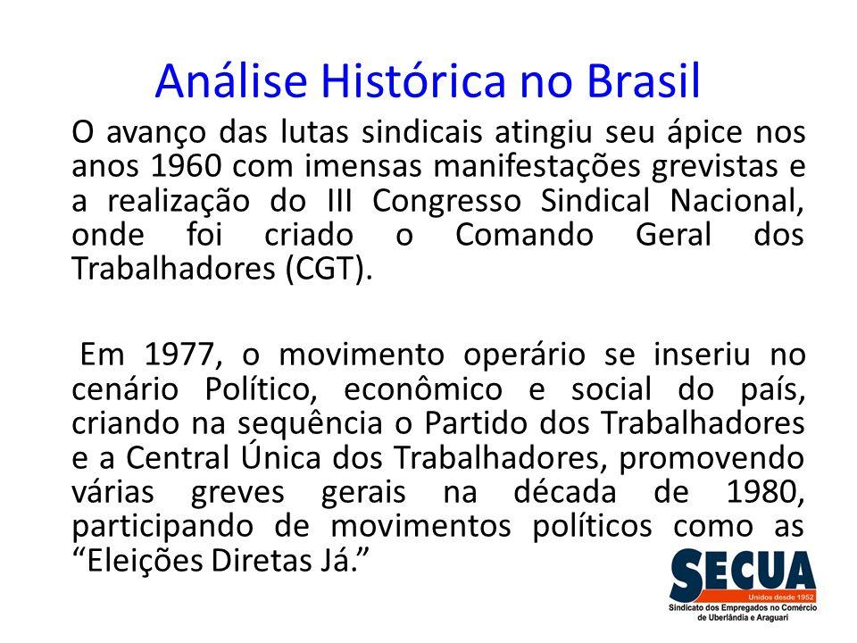 Análise Histórica no Brasil O avanço das lutas sindicais atingiu seu ápice nos anos 1960 com imensas manifestações grevistas e a realização do III Con