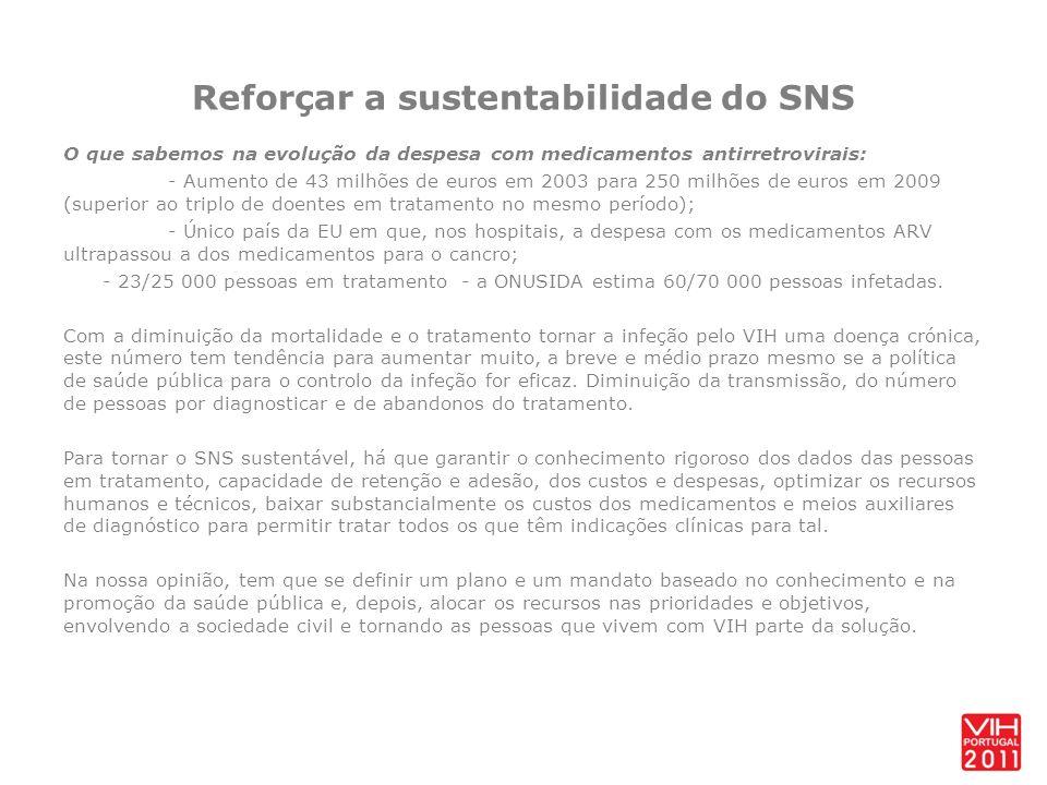 Reforçar a sustentabilidade do SNS O que sabemos na evolução da despesa com medicamentos antirretrovirais: - Aumento de 43 milhões de euros em 2003 pa