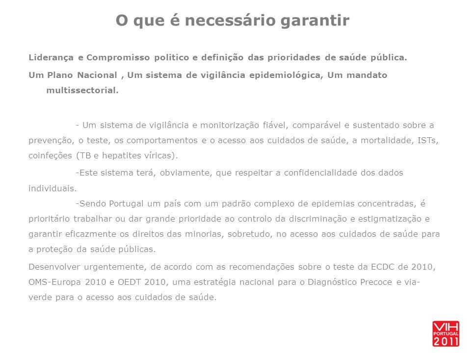 O que é necessário garantir Liderança e Compromisso politico e definição das prioridades de saúde pública.