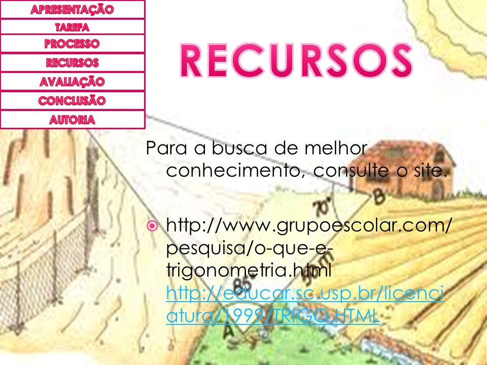 Para a busca de melhor conhecimento, consulte o site. http://www.grupoescolar.com/ pesquisa/o-que-e- trigonometria.html http://educar.sc.usp.br/licenc