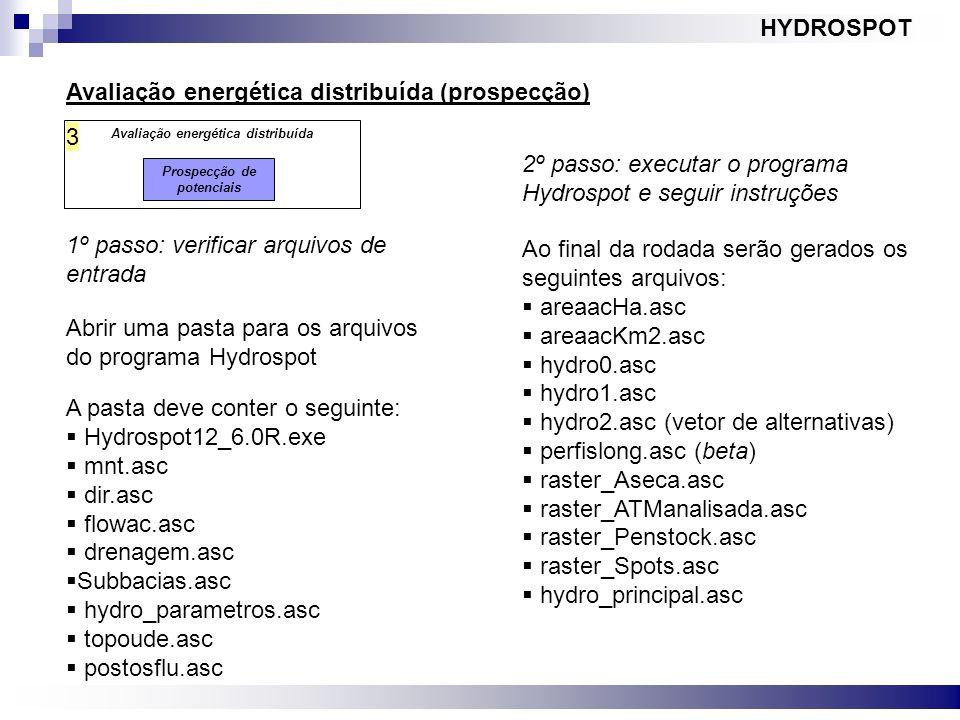 Avaliação energética distribuída Prospecção de potenciais 3 HYDROSPOT Avaliação energética distribuída (prospecção) 1º passo: verificar arquivos de en