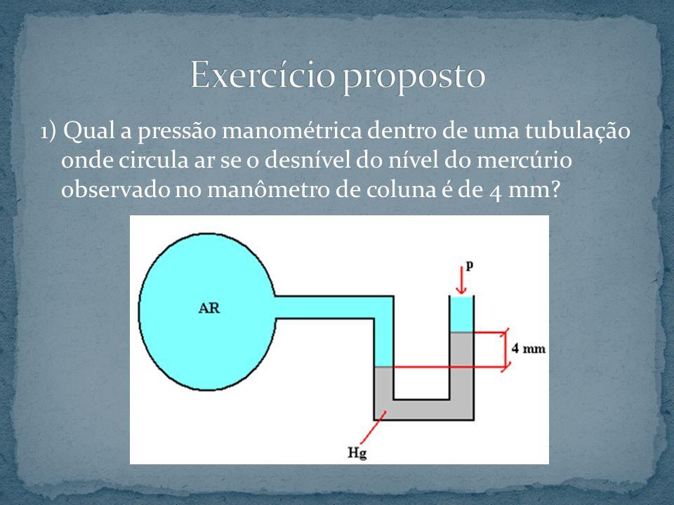 1) Qual a pressão manométrica dentro de uma tubulação onde circula ar se o desnível do nível do mercúrio observado no manômetro de coluna é de 4 mm?