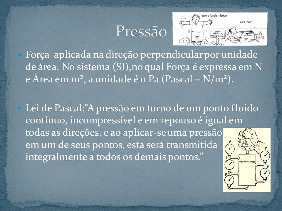 Força aplicada na direção perpendicular por unidade de área. No sistema (SI),no qual Força é expressa em N e Área em m², a unidade é o Pa (Pascal = N/