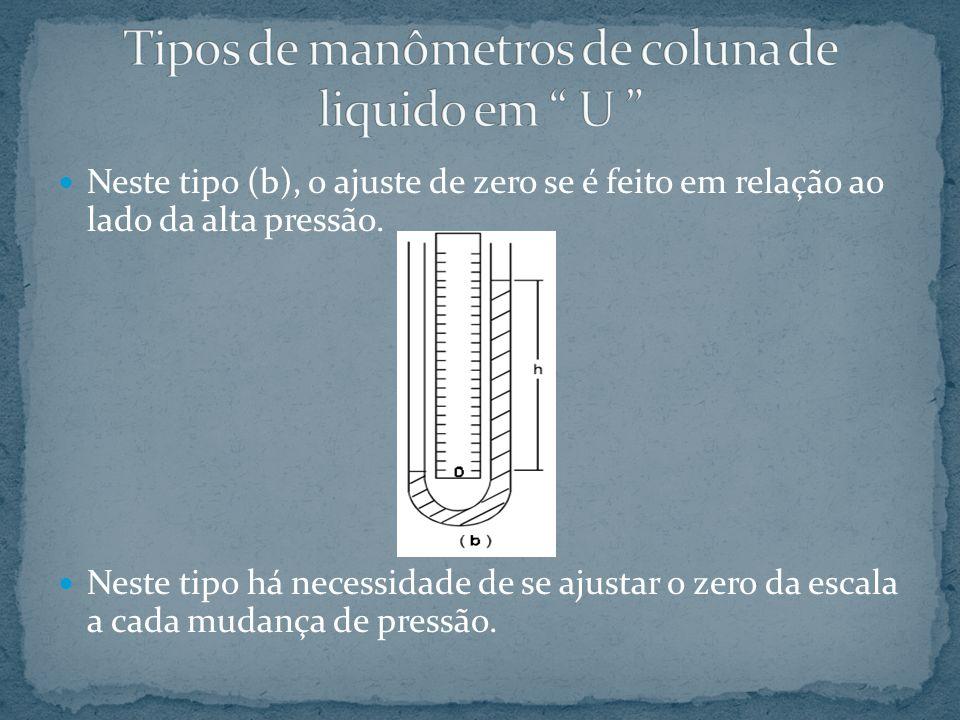 Neste tipo (b), o ajuste de zero se é feito em relação ao lado da alta pressão. Neste tipo há necessidade de se ajustar o zero da escala a cada mudanç