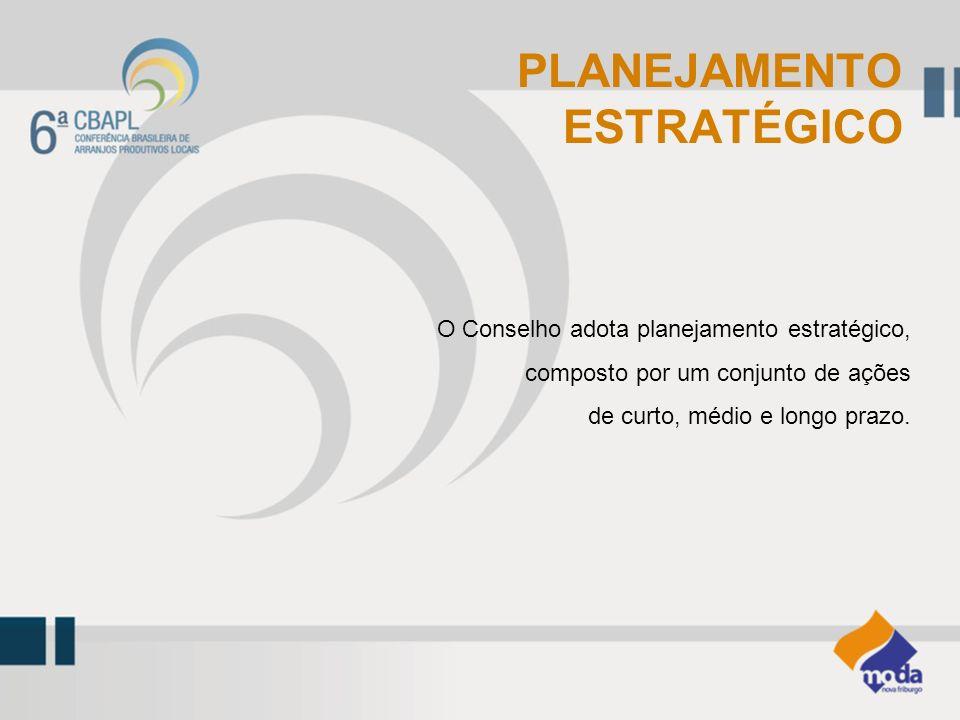 O Conselho adota planejamento estratégico, composto por um conjunto de ações de curto, médio e longo prazo. PLANEJAMENTO ESTRATÉGICO