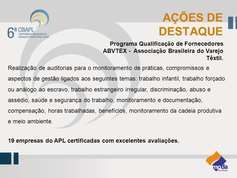 Programa Qualificação de Fornecedores ABVTEX - Associação Brasileira do Varejo Têxtil. AÇÕES DE DESTAQUE Realização de auditorias para o monitoramento