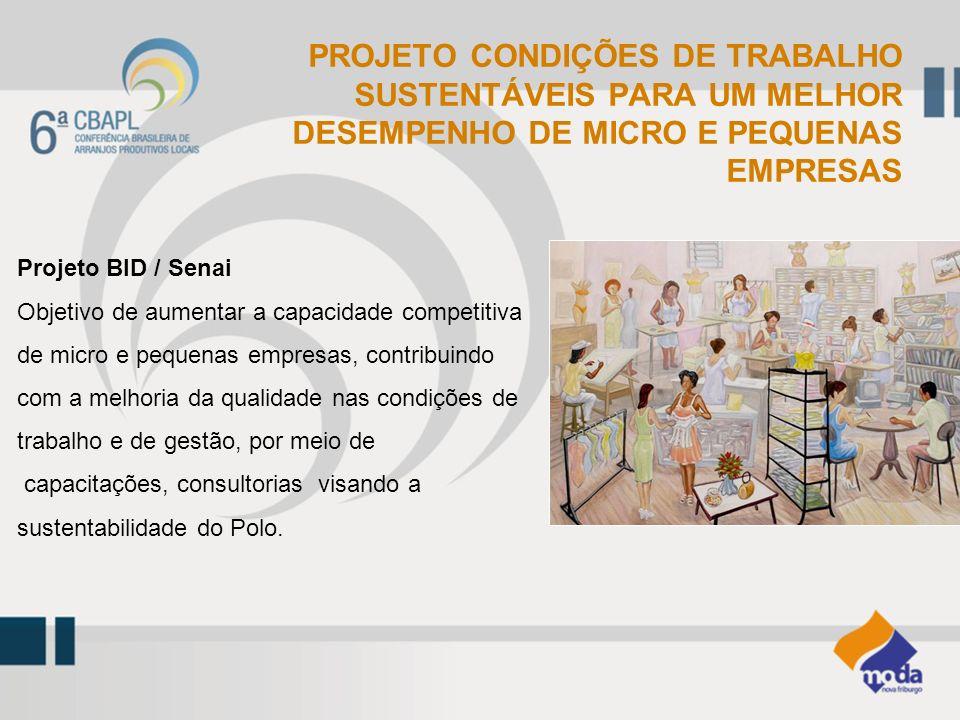 Projeto BID / Senai Objetivo de aumentar a capacidade competitiva de micro e pequenas empresas, contribuindo com a melhoria da qualidade nas condições