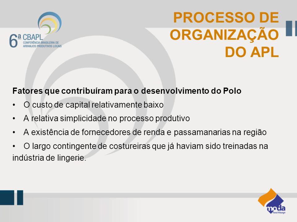Fatores que contribuíram para o desenvolvimento do Polo O custo de capital relativamente baixo A relativa simplicidade no processo produtivo A existên