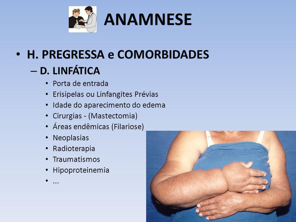 ANAMNESE H. PREGRESSA e COMORBIDADES – D. LINFÁTICA Porta de entrada Erisipelas ou Linfangites Prévias Idade do aparecimento do edema Cirurgias - (Mas