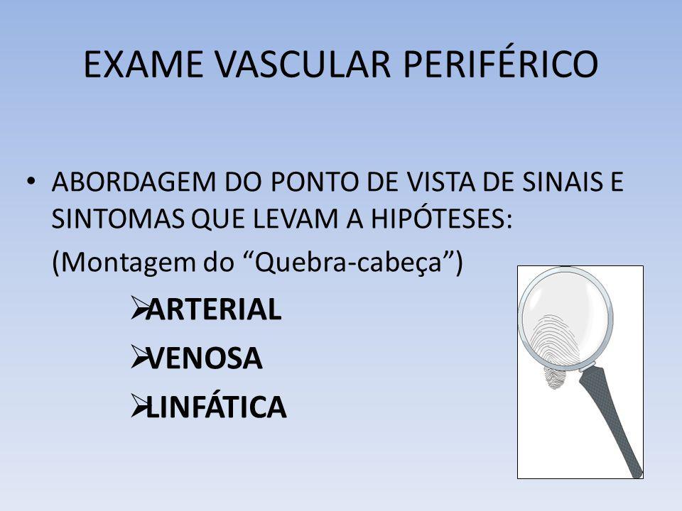 EXAME VASCULAR PERIFÉRICO ABORDAGEM DO PONTO DE VISTA DE SINAIS E SINTOMAS QUE LEVAM A HIPÓTESES: (Montagem do Quebra-cabeça) ARTERIAL VENOSA LINFÁTIC