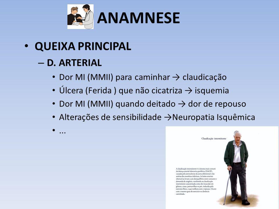 ANAMNESE QUEIXA PRINCIPAL – D. ARTERIAL Dor MI (MMII) para caminhar claudicação Úlcera (Ferida ) que não cicatriza isquemia Dor MI (MMII) quando deita