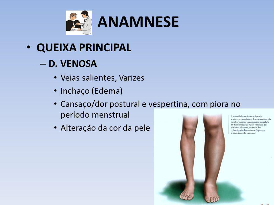 ANAMNESE QUEIXA PRINCIPAL – D. VENOSA Veias salientes, Varizes Inchaço (Edema) Cansaço/dor postural e vespertina, com piora no período menstrual Alter
