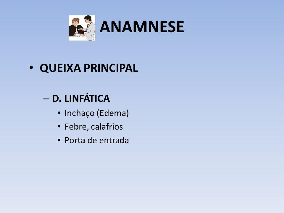 ANAMNESE QUEIXA PRINCIPAL – D. LINFÁTICA Inchaço (Edema) Febre, calafrios Porta de entrada