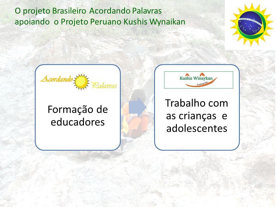 O projeto Brasileiro Acordando Palavras apoiando o Projeto Peruano Kushis Wynaikan Formação de educadores Trabalho com as crianças e adolescentes