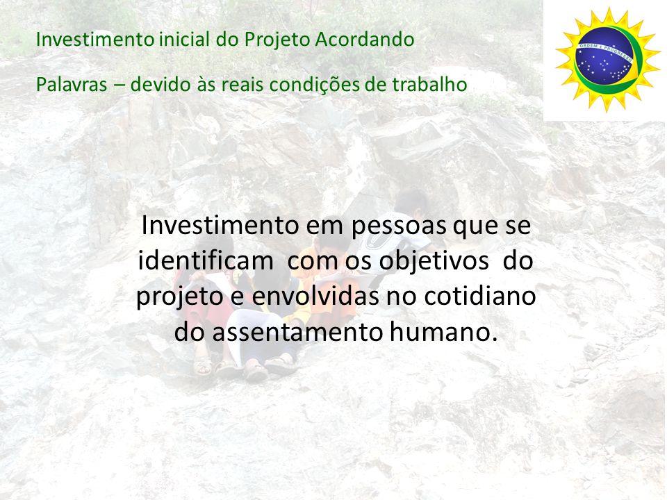Investimento inicial do Projeto Acordando Palavras – devido às reais condições de trabalho Investimento em pessoas que se identificam com os objetivos do projeto e envolvidas no cotidiano do assentamento humano.