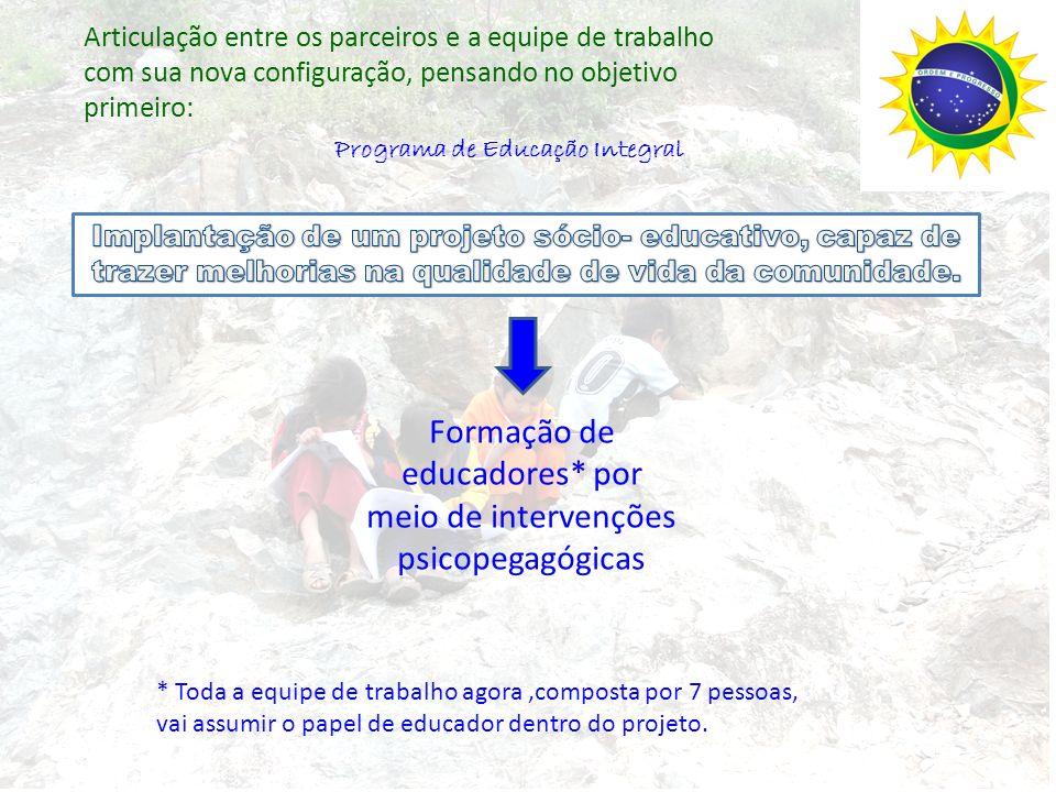 Ações e programas, tendo em vista, o objetivo e a equipe de trabalho que tem 7 pessoas, 2 brasileiros e 5 peruanos: Programa de Educação Integral Encontros de formação e capacitação, tendo em vista ensino- aprendizagem Oficinas de aprendizagem com as crianças e adolescentes – leitura, escrita e matemática a partir do contexto Construção da Casa de Aprendizagem – espaço que educa.
