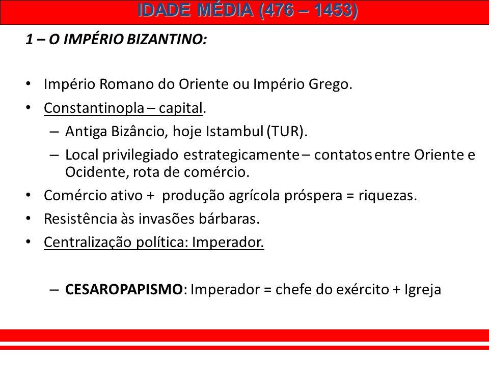IDADE MÉDIA (476 – 1453) Elementos feudais: ROMANOSGERMÂNICOS Clientela (dependência entre servos e senhores) Comitatus (dependência entre nobres – ba