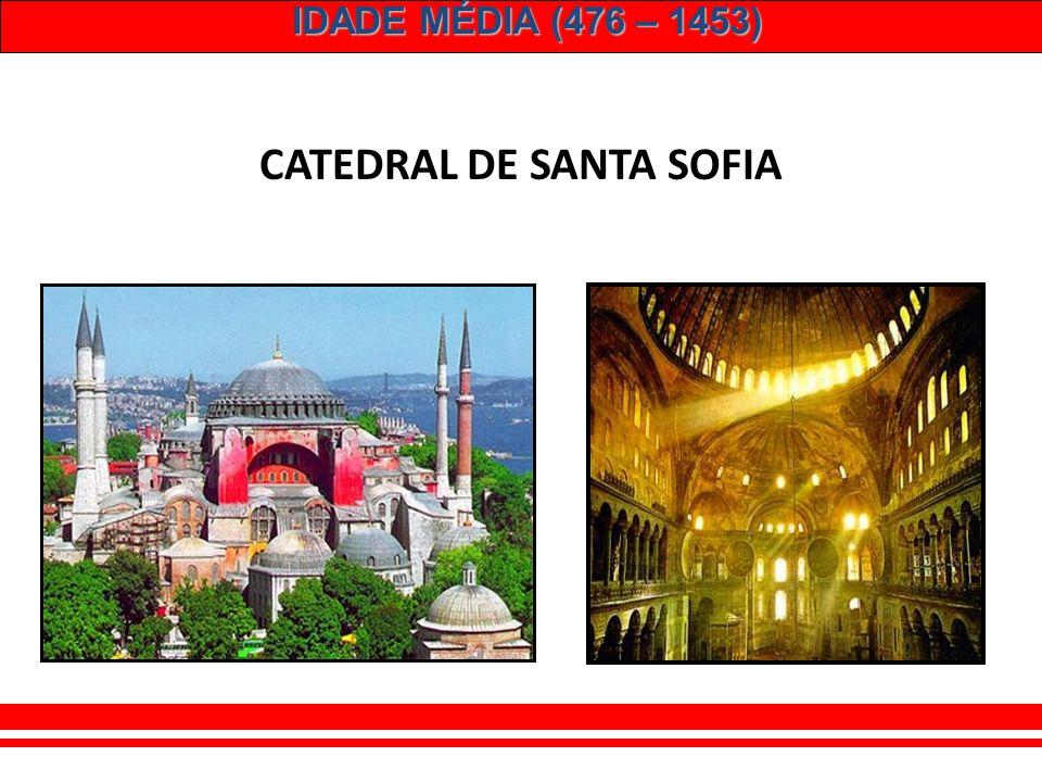 IDADE MÉDIA (476 – 1453) JUSTINIANO (527 – 565) – auge do Império. – Conquistas territoriais. Península Itálica + Península Ibérica + Norte da África.