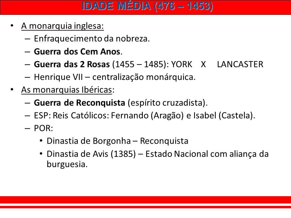 IDADE MÉDIA (476 – 1453) 6 – FORMAÇÃO DAS MONARQUIAS NACIONAIS: Aliança entre reis e burgueses. Reis: redução de poderes dos nobres e da Igreja. Burgu