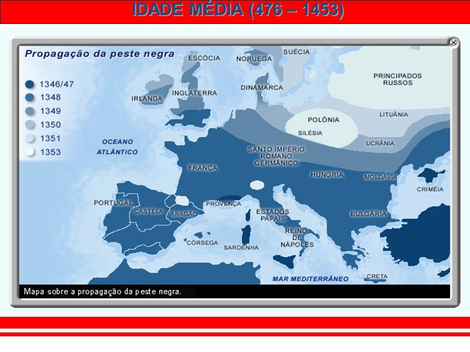 IDADE MÉDIA (476 – 1453) Peste Negra (1347 – 1350): – Peste bubônica. – Morte de 1/3 dos europeus (25 milhões). – Enfraquecimento dos nobres.