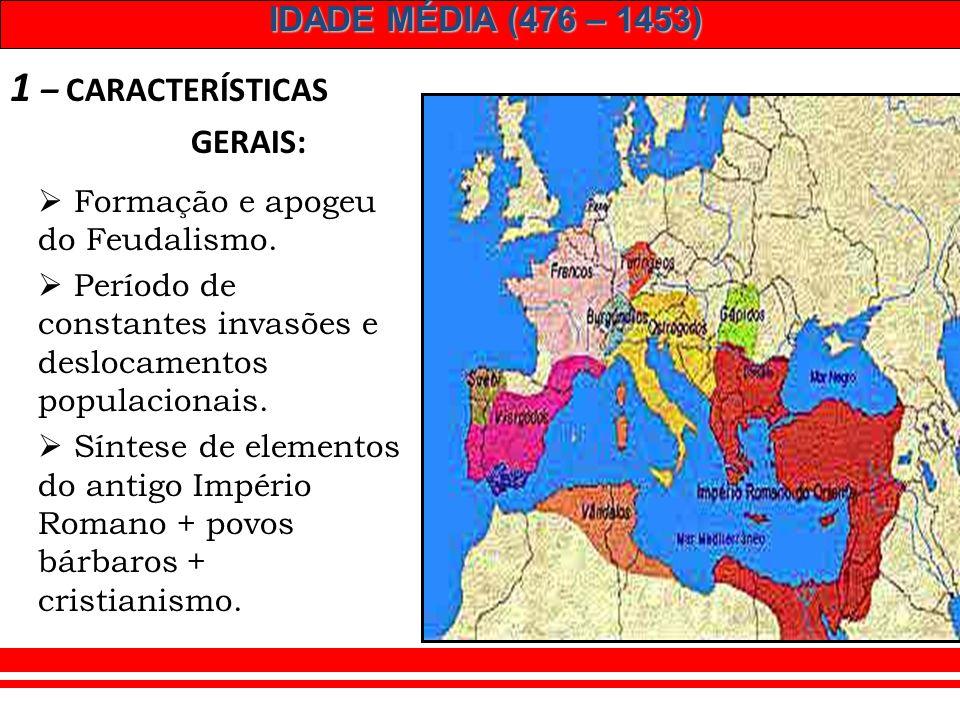 IDADE MÉDIA (476 – 1453) Idade Média: modo de produção feudal feudo: propriedade & privilégio relações de dependência pessoal CONCEITO Síntese de inst