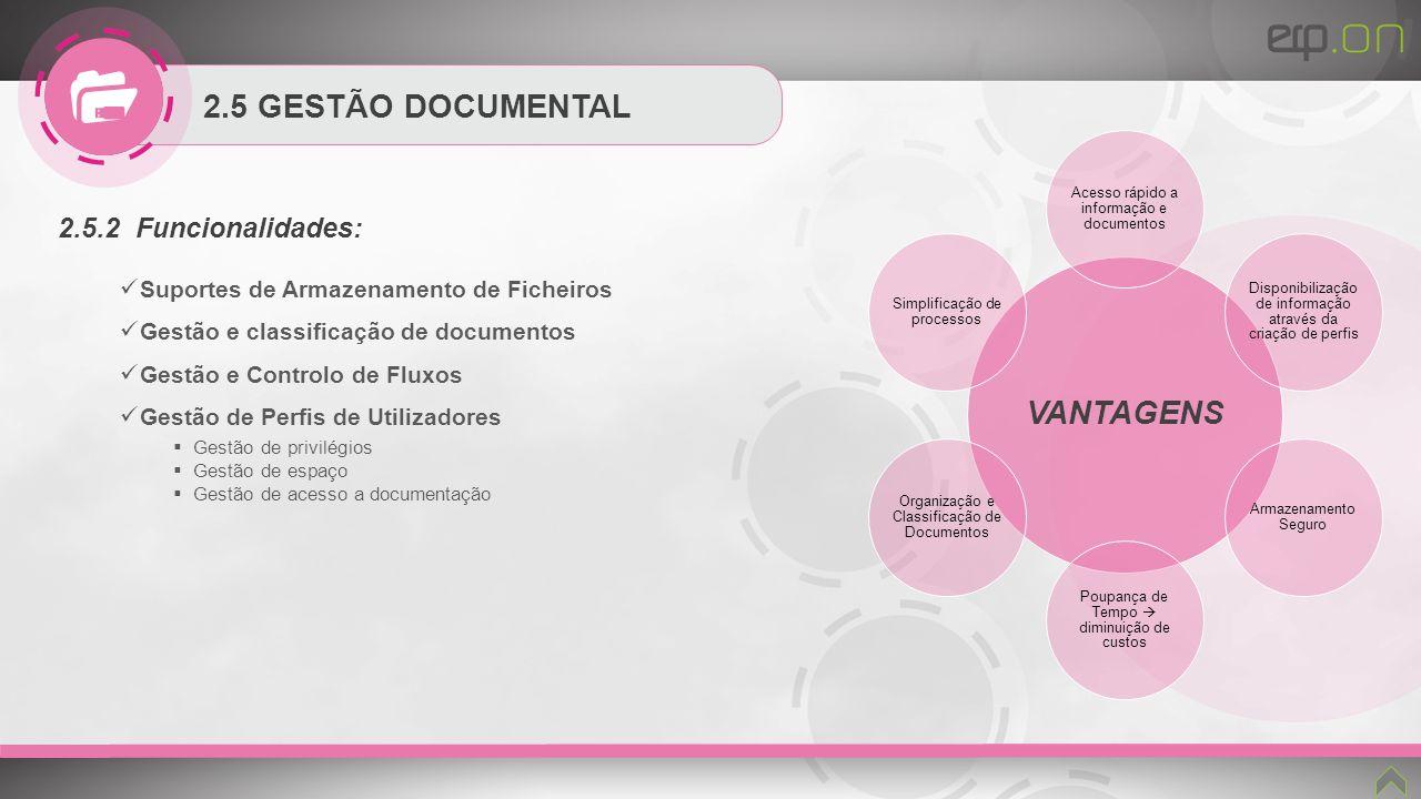 2.5 GESTÃO DOCUMENTAL 2.5.2 Funcionalidades: Suportes de Armazenamento de Ficheiros Gestão e classificação de documentos Gestão e Controlo de Fluxos G