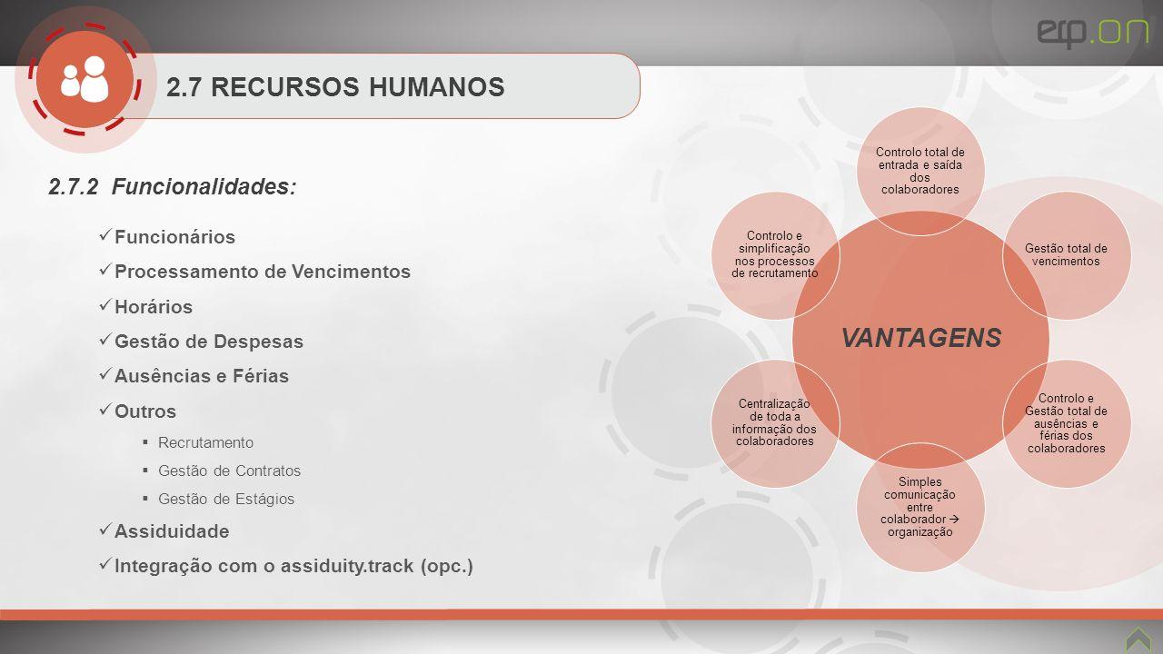 2.7 RECURSOS HUMANOS 2.7.2 Funcionalidades: Funcionários Processamento de Vencimentos Horários Gestão de Despesas Ausências e Férias Outros Recrutamen