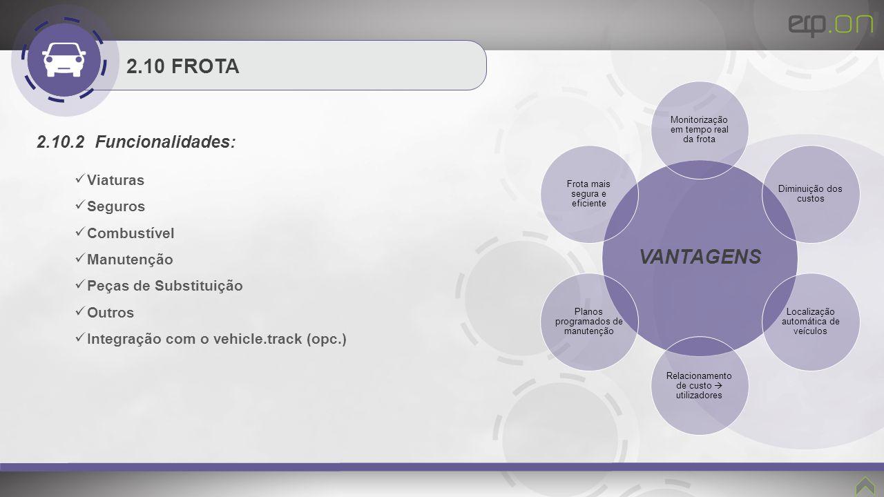 2.10 FROTA 2.10.2 Funcionalidades: Viaturas Seguros Combustível Manutenção Peças de Substituição Outros Integração com o vehicle.track (opc.) VANTAGEN