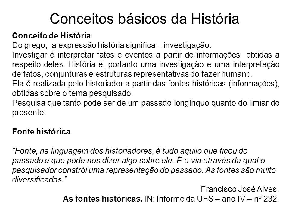 Conceitos básicos da História Conceito de História Do grego, a expressão história significa – investigação. Investigar é interpretar fatos e eventos a