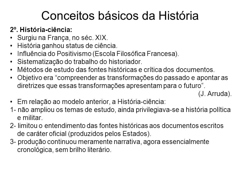 Conceitos básicos da História 2º. História-ciência: Surgiu na França, no séc. XIX. História ganhou status de ciência. Influência do Positivismo (Escol