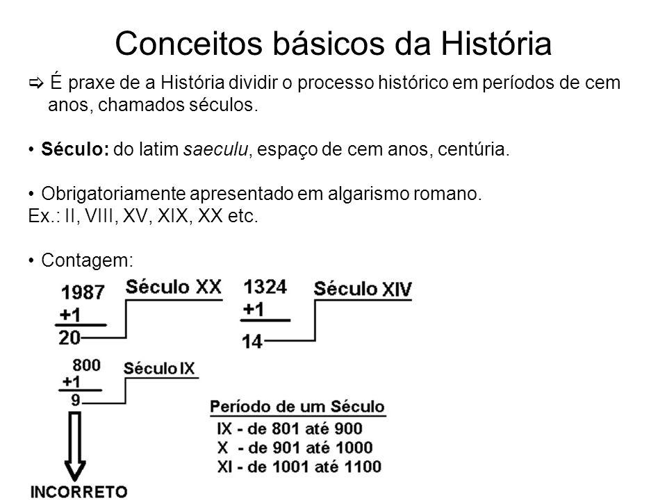 Conceitos básicos da História É praxe de a História dividir o processo histórico em períodos de cem anos, chamados séculos. Século: do latim saeculu,