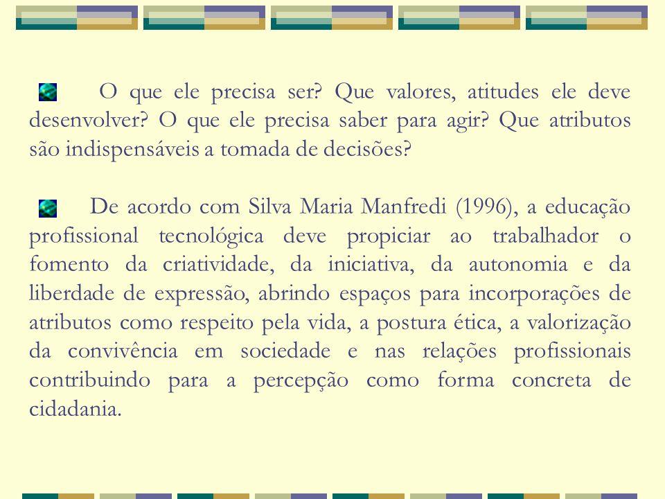 Na definição do perfil, deve-se ainda buscar responder as seguintes questões: Conceitos e categorias Como deve ser Paradigmas Construção de competências.