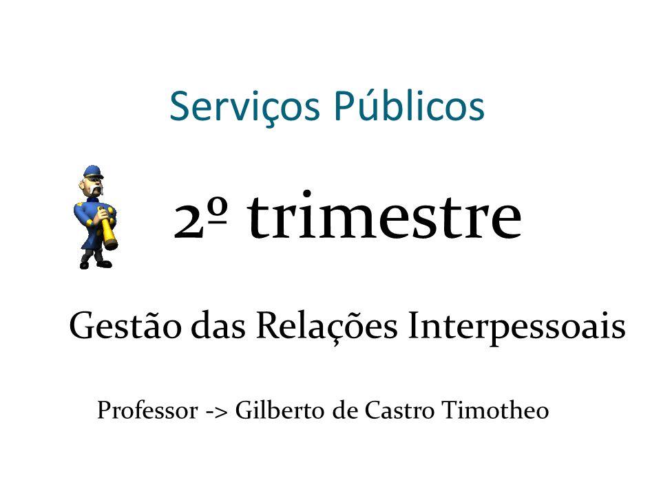 Serviços Públicos 2º trimestre Gestão das Relações Interpessoais Professor -> Gilberto de Castro Timotheo