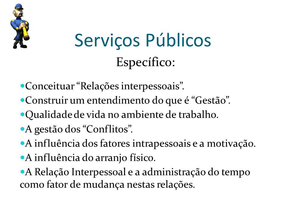 Serviços Públicos Específico: Conceituar Relações interpessoais. Construir um entendimento do que é Gestão. Qualidade de vida no ambiente de trabalho.