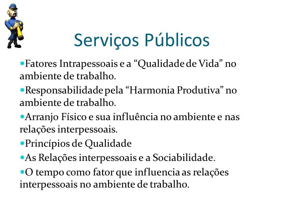 Serviços Públicos Fatores Intrapessoais e a Qualidade de Vida no ambiente de trabalho. Responsabilidade pela Harmonia Produtiva no ambiente de trabalh