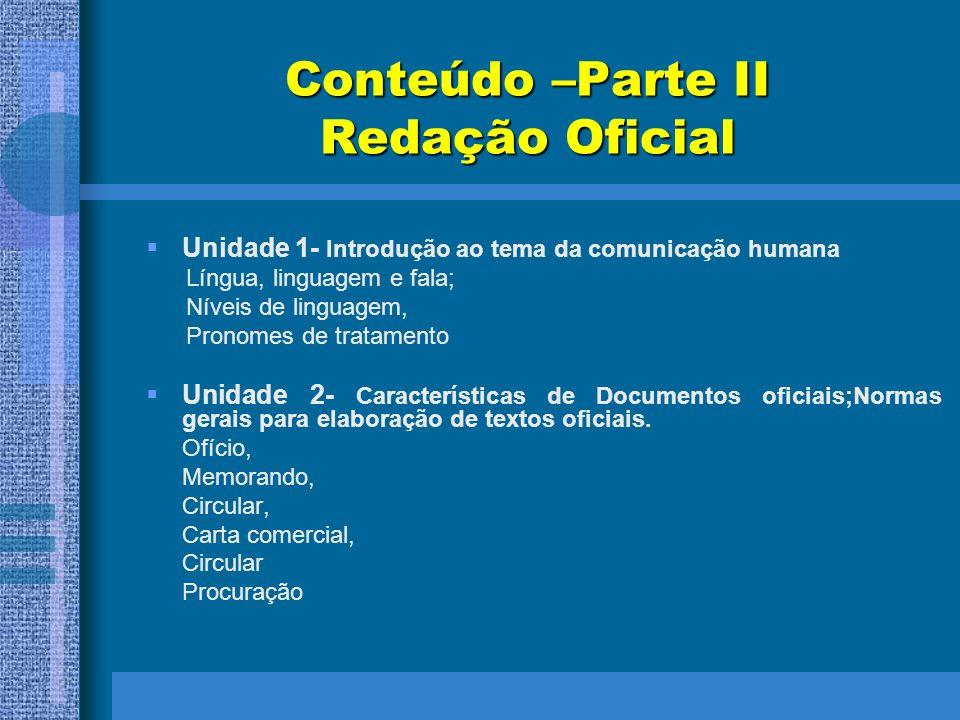 Conteúdo –Parte II Redação Oficial Unidade 1- Introdução ao tema da comunicação humana Língua, linguagem e fala; Níveis de linguagem, Pronomes de trat