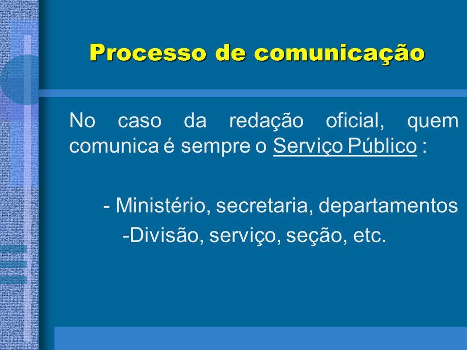 Processo de comunicação No caso da redação oficial, quem comunica é sempre o Serviço Público : - Ministério, secretaria, departamentos -Divisão, servi