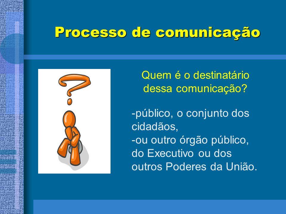 Processo de comunicação Quem é o destinatário dessa comunicação? -público, o conjunto dos cidadãos, -ou outro órgão público, do Executivo ou dos outro