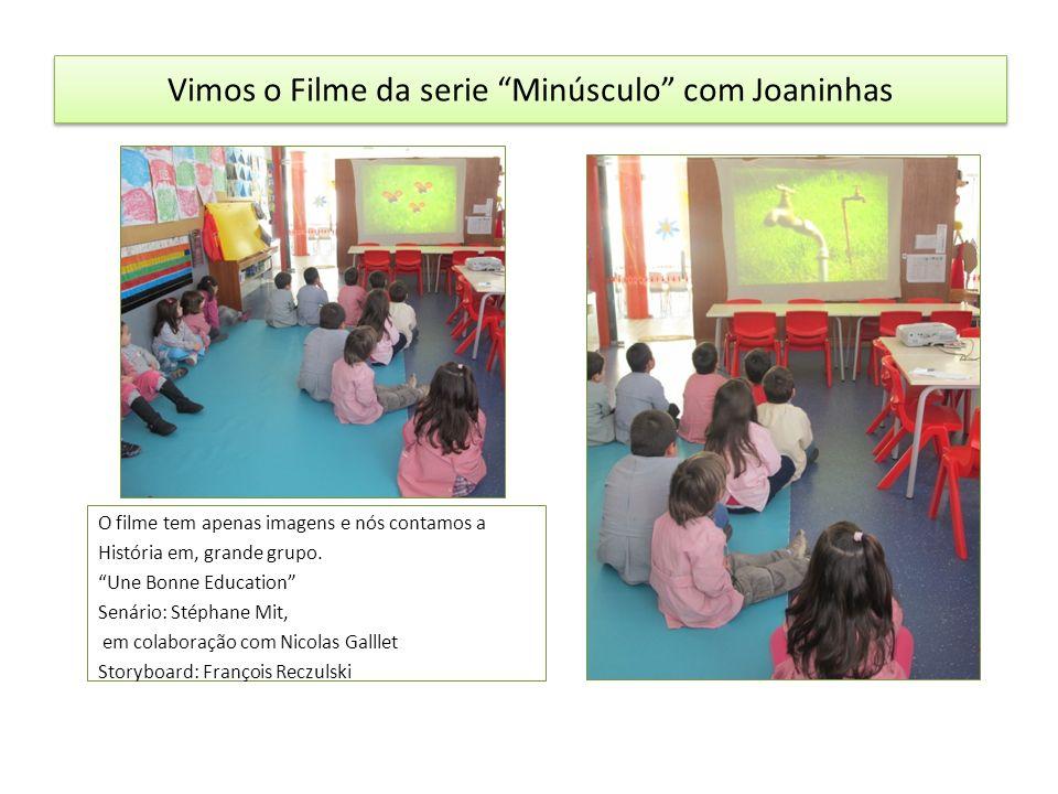 Vimos o Filme da serie Minúsculo com Joaninhas O filme tem apenas imagens e nós contamos a História em, grande grupo.