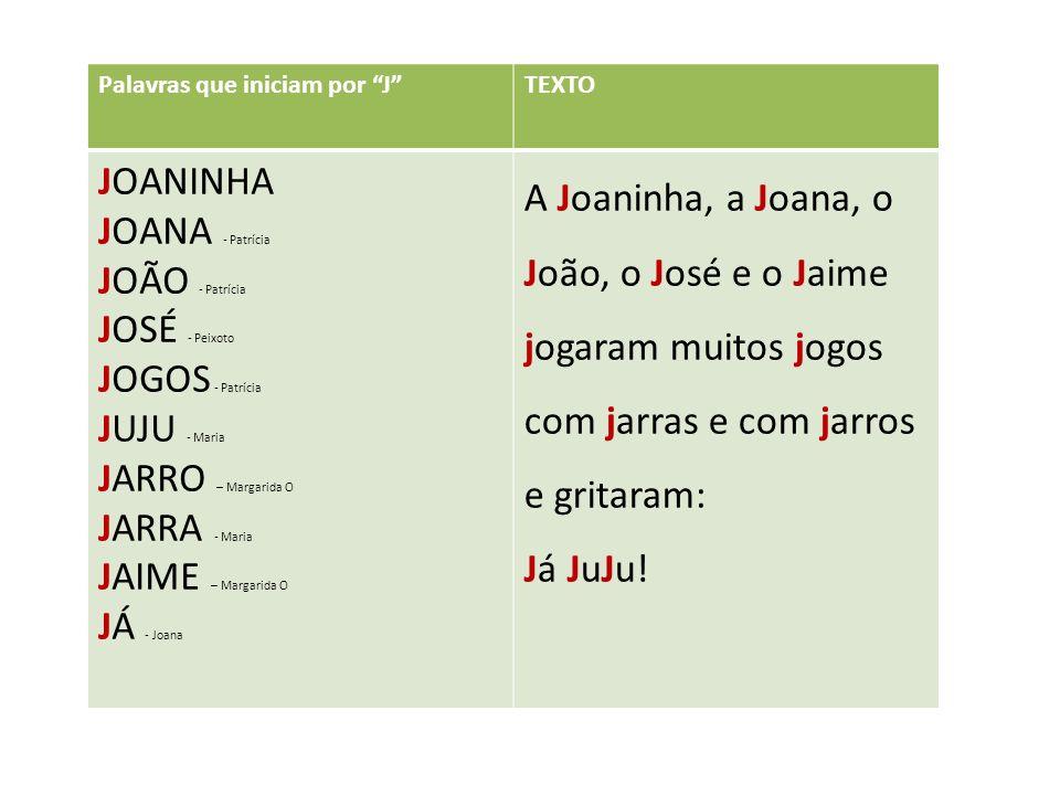Palavras que iniciam por JTEXTO JOANINHA JOANA - Patrícia JOÃO - Patrícia JOSÉ - Peixoto JOGOS - Patrícia JUJU - Maria JARRO – Margarida O JARRA - Maria JAIME – Margarida O JÁ - Joana A Joaninha, a Joana, o João, o José e o Jaime jogaram muitos jogos com jarras e com jarros e gritaram: Já JuJu!