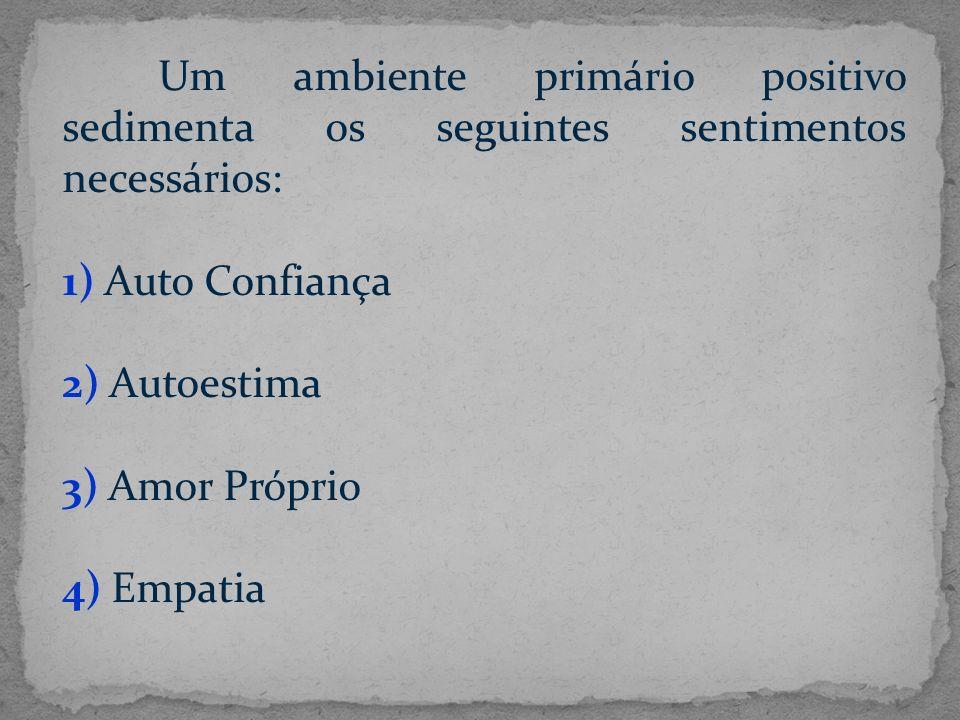 Um ambiente primário positivo sedimenta os seguintes sentimentos necessários: 1) Auto Confiança 2) Autoestima 3) Amor Próprio 4) Empatia