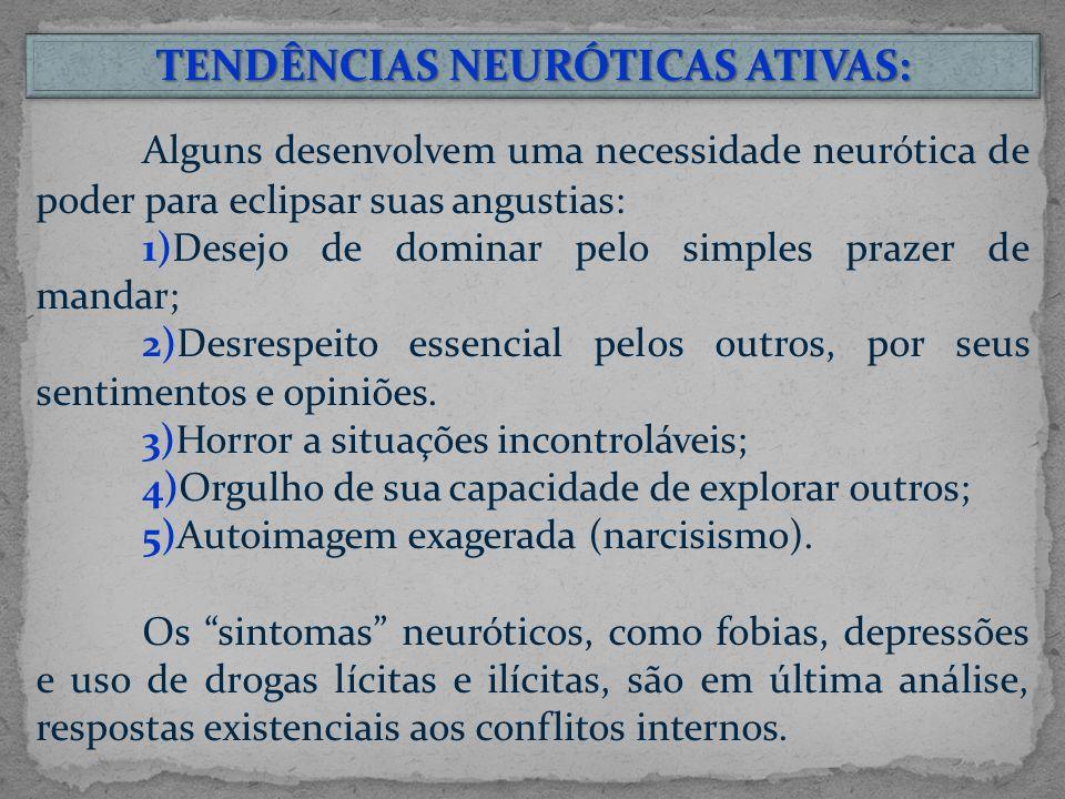 Alguns desenvolvem uma necessidade neurótica de poder para eclipsar suas angustias: 1)Desejo de dominar pelo simples prazer de mandar; 2)Desrespeito essencial pelos outros, por seus sentimentos e opiniões.