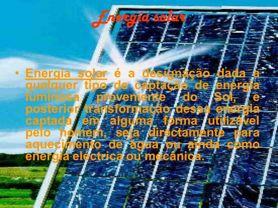 Energia solar Energia solar é a designação dada a qualquer tipo de captação de energia luminosa proveniente do Sol, e posterior transformação dessa en